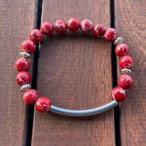 Red sea jasper & steel bar bead boho bracelet